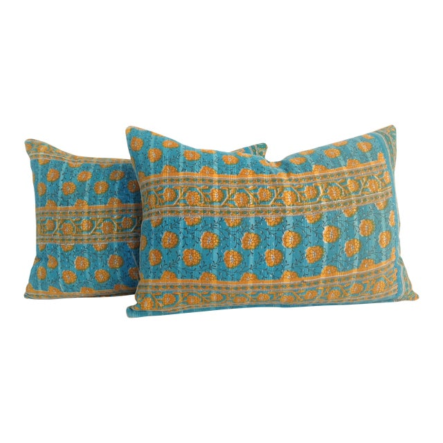 Vintage Indian Kantha Quilt Teal Pillows - A Pair For Sale