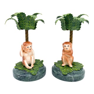 20th Century Hollywood Regency Monkey Palm Tree Tole, Ceramic and Marble Candlesticks- a Pair For Sale