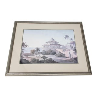 North African Landscape With Figures and Architecture Hand Colored Engraving For Sale