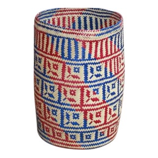 Hand-Woven Palm Trash Paper Basket
