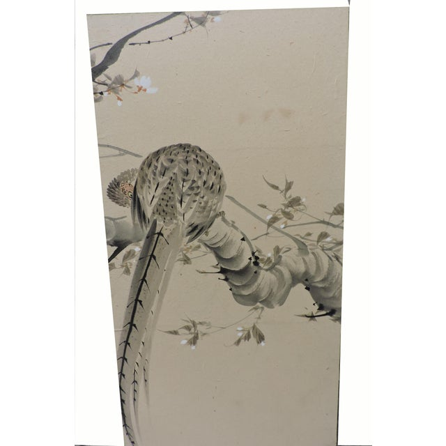 Art Nouveau Pair of Hand Painted Japanese Panel Screens With Birds and Flowers For Sale - Image 3 of 13