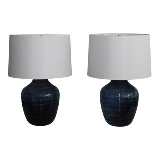 Pair of Midnight Blue Murano Glass Table Lamps For Sale