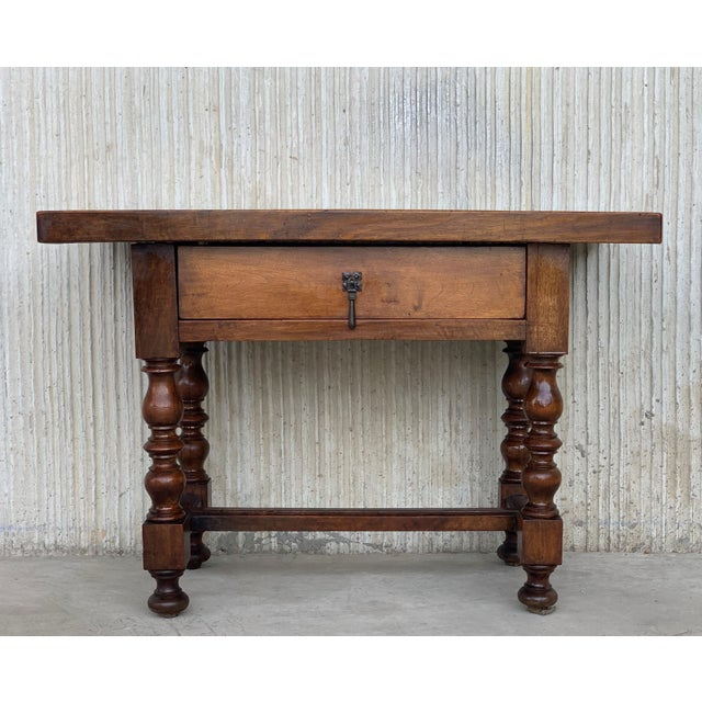Baroque Spanish 1890s Walnut Side Table Single Drawer Wit Turned Legs For Sale - Image 3 of 13