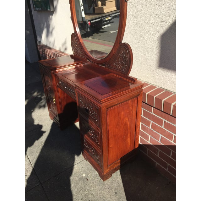 Carved Chinese Rosewood Vanity Dresser with Mirror For Sale - Image 10 of 11
