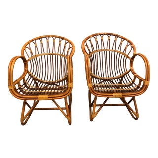 Mid-Century Modern Bamboo Chairs- A Pair For Sale