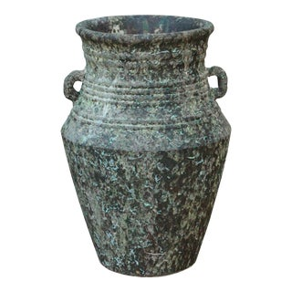Ceramic Rough Gray Green Rust Dimensional Marks Tall Vase Jar
