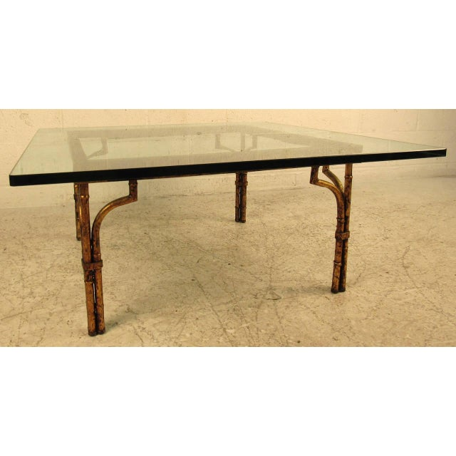 Metal Vintage Hollywood Regency Coffee Table in Gilt Finish For Sale - Image 7 of 7