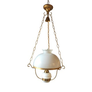 French Opaline Converted Oil Lamp For Sale