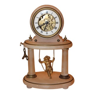 19th Century Antique French Gilt Bronze Cherub Swinging Clock For Sale