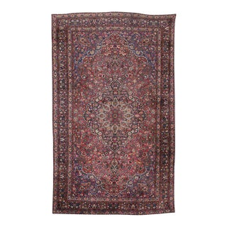 Antique Persian Mashad Gallery Rug with Traditional Style For Sale