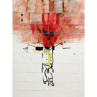 Mixed Media Abstract Figure Collage For Sale