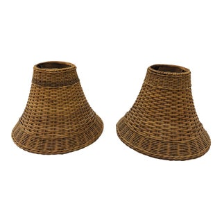 Pair Vintage Woven Wicker lamp shades For Sale