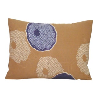 Japanese Silk Shibori Kimono Lumbar Pillow Cover For Sale