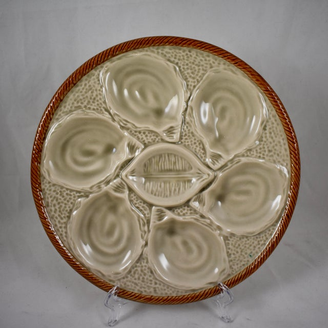 St. Clément French Gray Shell, Rope & Lemon Oyster Plate For Sale - Image 10 of 10