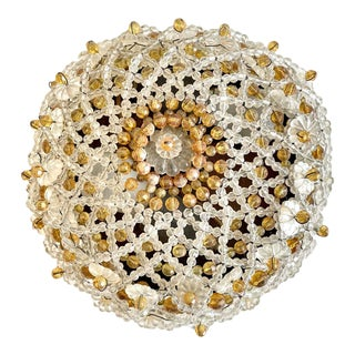 Vintage Beaded Dome Light For Sale