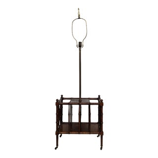 Vintage Frederick Cooper Mahogany Faux Bamboo Magazine Rack Floor Lamp For Sale