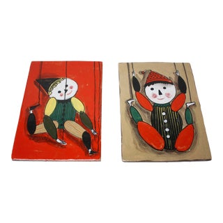 Pair of Vintage Italian Marionette Ceramic Wall Tiles For Sale