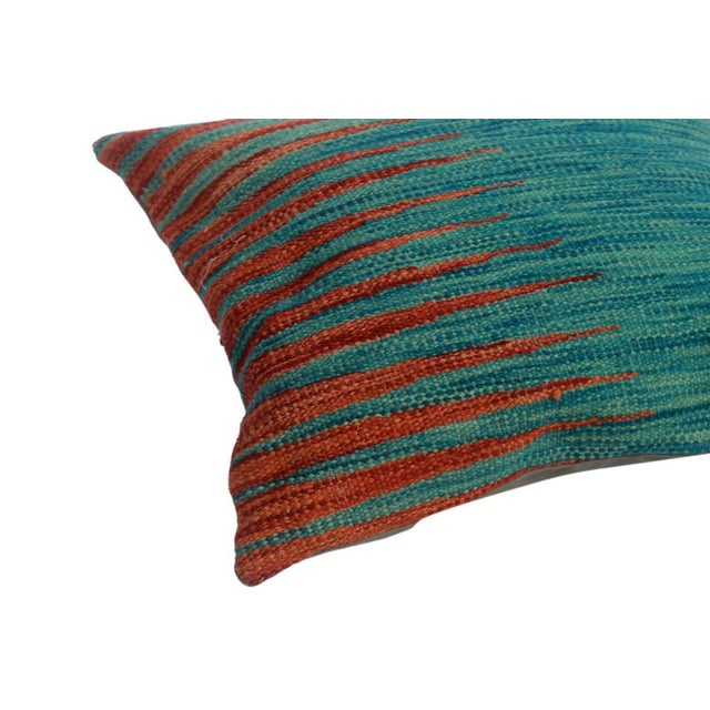 """Asian Desmond Blue/Rust Hand-Woven Kilim Throw Pillow(18""""x18"""") For Sale - Image 3 of 6"""
