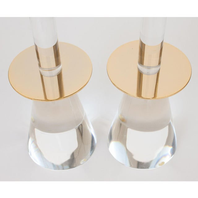 Lucite & Brass Candlesticks - A Pair - Image 2 of 8