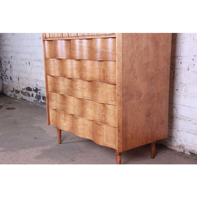 Mid-Century Modern Edmond Spence Wave Front Highboy Dresser For Sale - Image 3 of 13