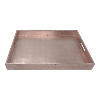 Rose Gold Leaf Lacquered Tray For Sale