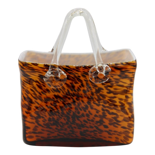 Mid Century Modern Tortoise Shell Glass Purse Cachepot / Vase For Sale