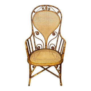 Art Deco Burnt Bamboo and Cane Arm Chair For Sale