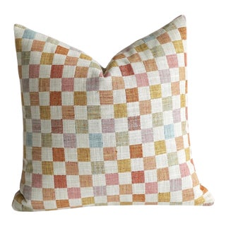 18x18 Patchwork Pillow Cover in Apricot & Pink For Sale
