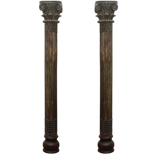 Green Pair of Carved Wooden Anglo Indian Pillar Columns For Sale - Image 8 of 8