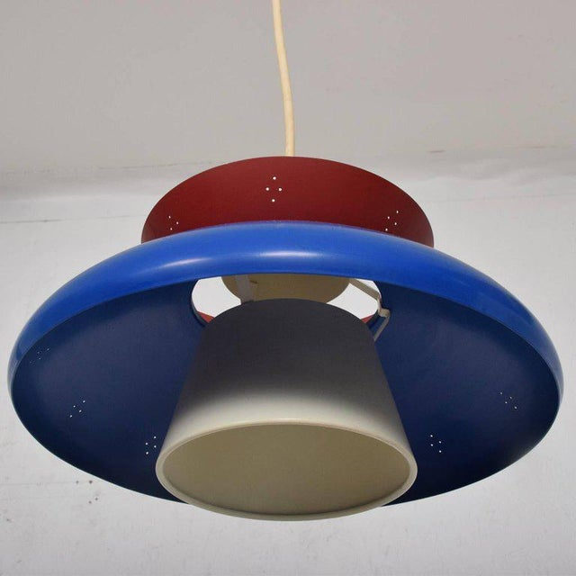 Blue American Mid-Century Modern Pendant Light Sculptural Shape For Sale - Image 8 of 10