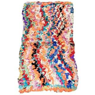 Wavy Multicolored Morroccan Boucherouite Rug - 2′8″ × 4′7″ For Sale
