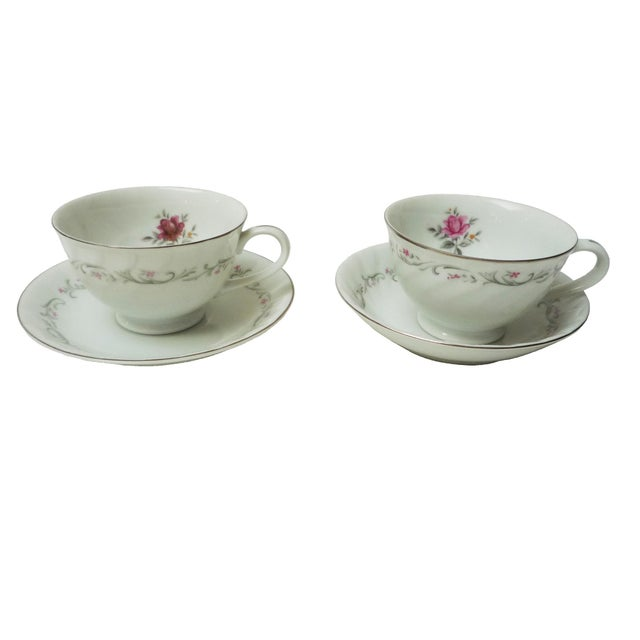 Vintage Floral Tea Cup & Saucers - a Pair For Sale