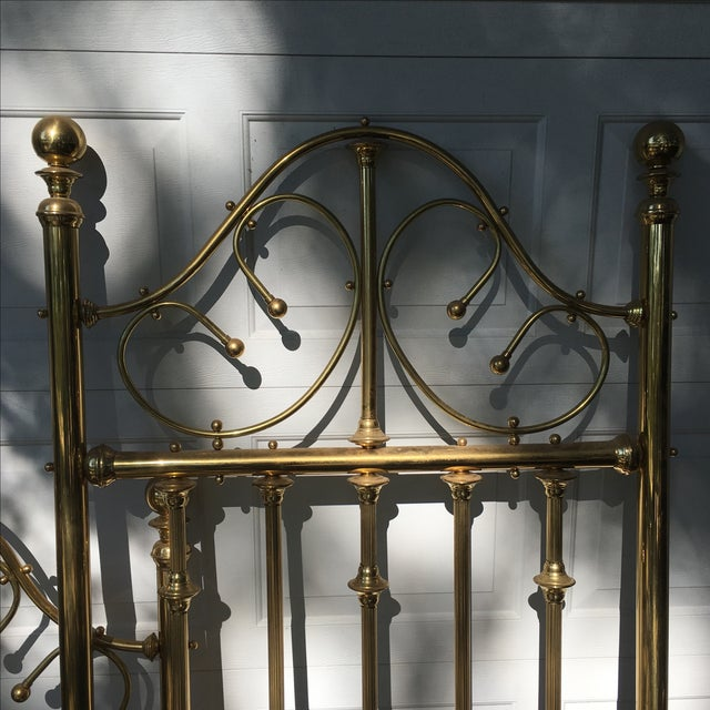 Shabby Chic Vintage Brass Twin Bed For Sale - Image 3 of 11