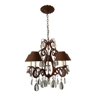 1990s Arte De Mexico Hand Forged Chandelier 5 Lamp For Sale
