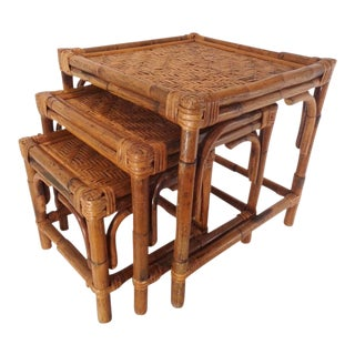 Mid Century Organic Modern Bamboo Side Nesting Tables For Sale