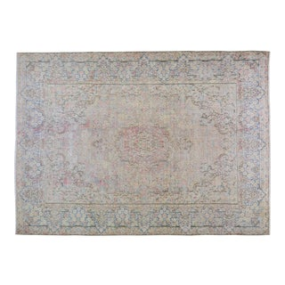 Vintage Persian Kerman Hand Knotted Organic Wool Natural Color Whitewash Rug,8'x11' For Sale