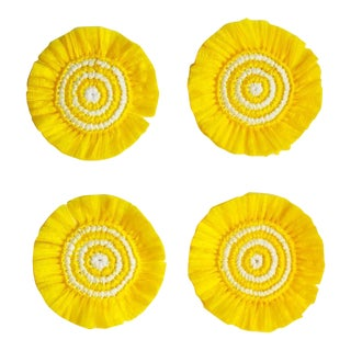 Yellow & White Woven Fringe Coasters - Set of 4 For Sale