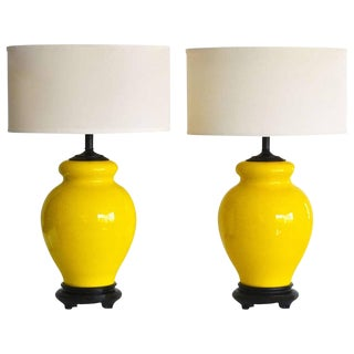 Pair of Yellow Glazed Ceramic Table Lamps