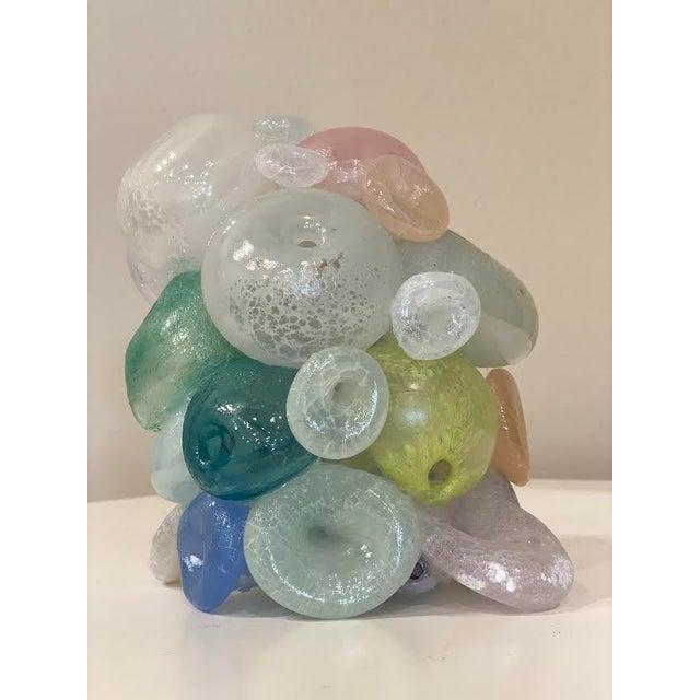 Blue Modern Blown Glass Art Sculpture For Sale - Image 8 of 13