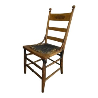 Antique Early Pressed Leather Seat Engraved Ladder Back Chair, 1900s