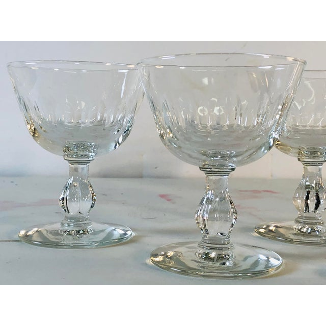 1950s 1950s Mitred Glass Coupe Stems, Set of 6 For Sale - Image 5 of 9