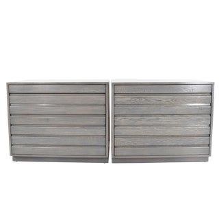 1970s Mid Century Grey Stained Chests - a Pair For Sale