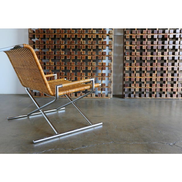 """1966 Vintage Cane & Chrome Plated Steel """" Sled """" Chair For Sale - Image 9 of 10"""
