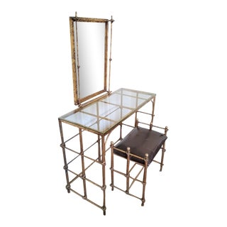 Hollywood Regency Gilded Vanity With Seat - 2 Pieces For Sale