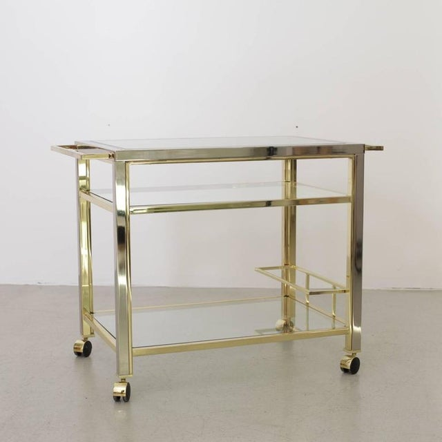 Modern Bar Cart in Chrome and Brass attributed to Willy Rizzo For Sale - Image 3 of 5