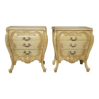 Pair Vintage French Provincial Bombay Bombe Italian Rococo Louis XVI Nightstands For Sale