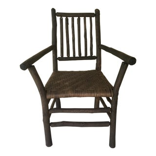 Adirondack Hickory Arm Chair with Woven Seat For Sale