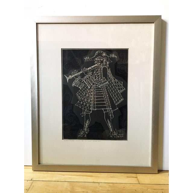 Mid-Century Modern 1960s Herschel Levit Minstrel Musician With Clarinet Lithographic Print For Sale - Image 3 of 9