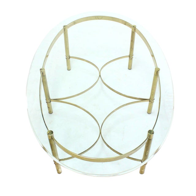 Metal Oval Brass and Glass Coffee Table For Sale - Image 7 of 7