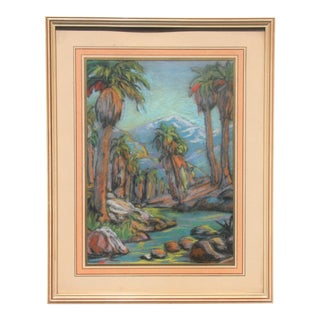 Vintage Pastel Drawing of Palm Trees For Sale